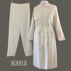 SOLD $$ RODIER FRANCE Ivory Trench Coat + Pant Set